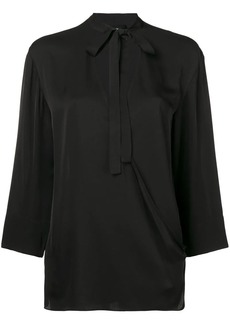 Theory neck-tied fitted blouse