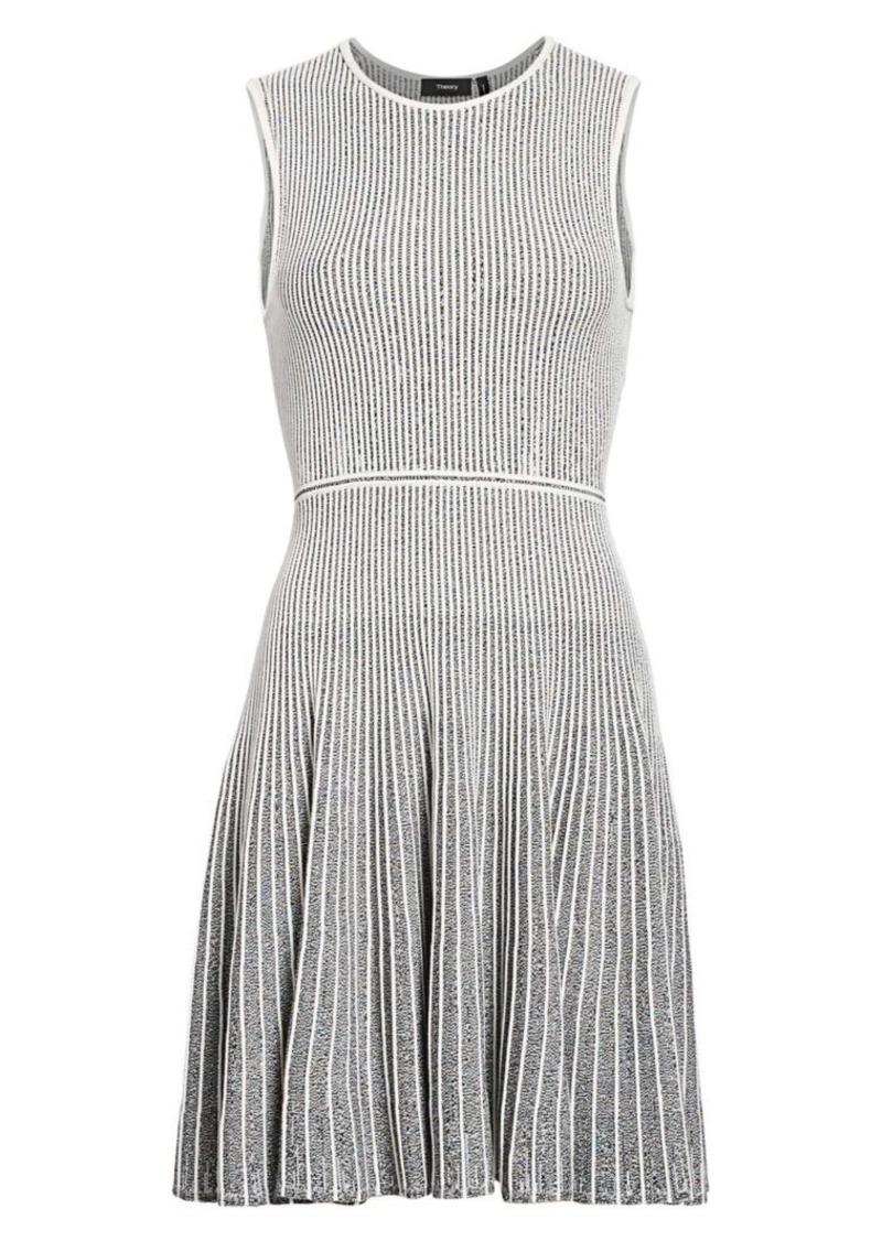 Theory Novelty Marl Striped Flare Dress