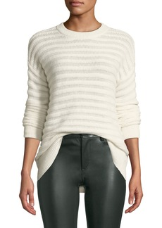 Theory Novelty-Stripe Cashmere Pullover Sweater