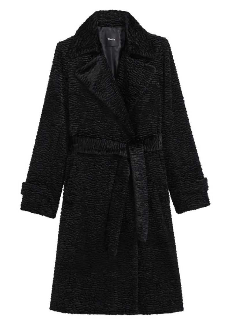 Theory Oaklane Faux Fur Tie-Waist Trench Coat