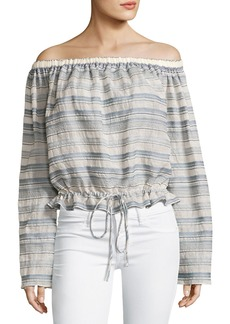 Theory Odettah Vall Striped Off-the-Shoulder Top