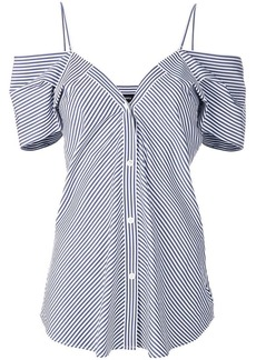 Theory off-shoulder buttoned top