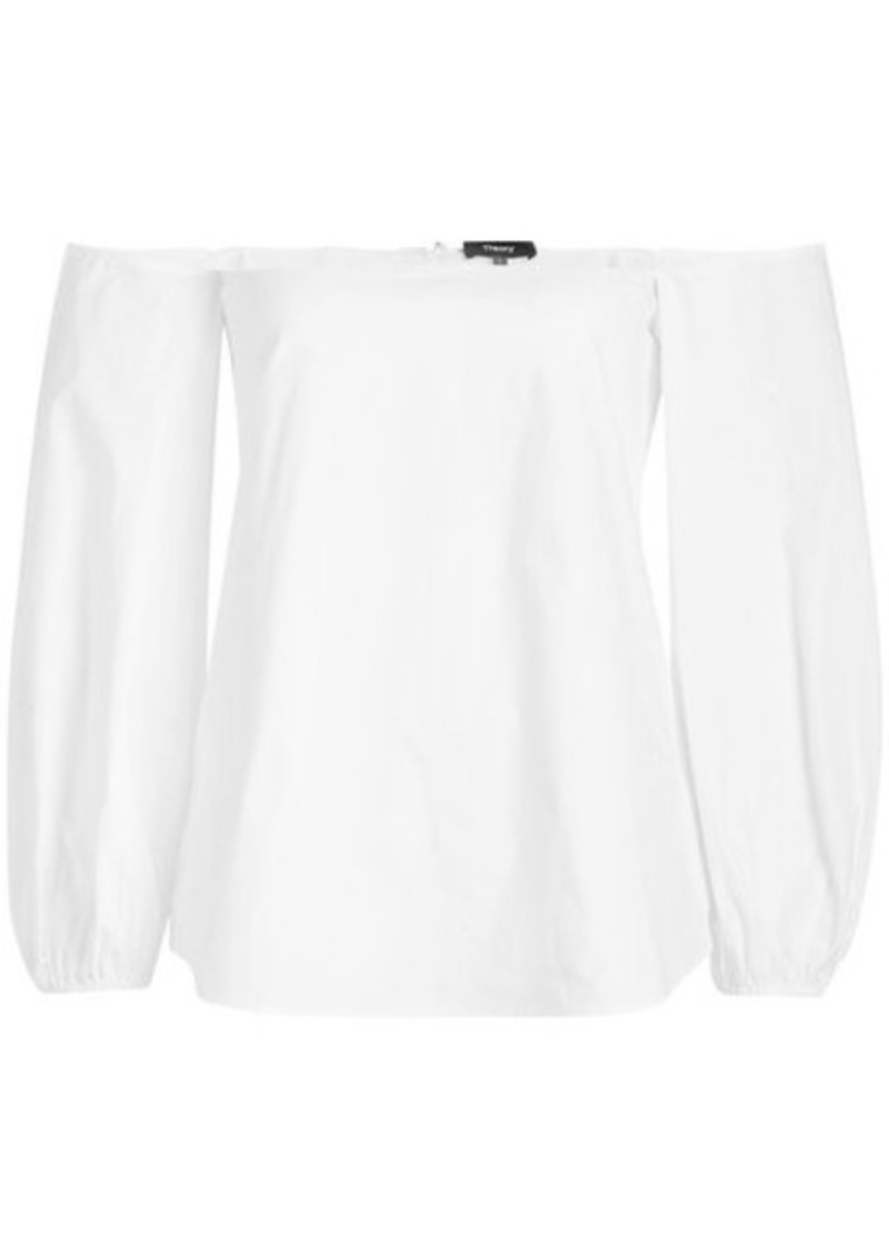 Theory Off-Shoulder Cotton Blouse