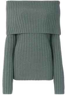 Theory off-shoulder foldover pullover