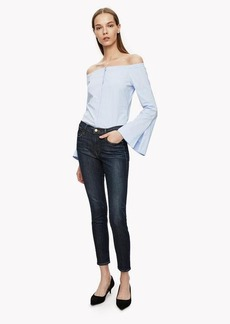 Theory Off-The-Shoulder Button Shirt
