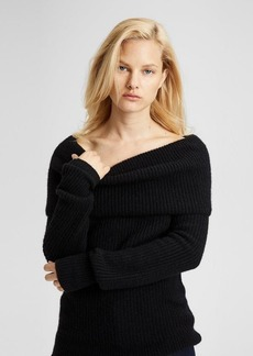 Theory Off-The-Shoulder Foldover Sweater