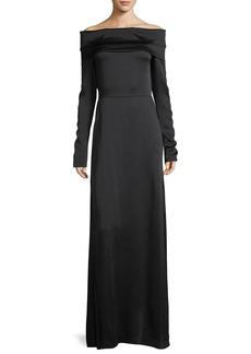 Theory Off-the-Shoulder Long-Sleeve Elegant Maxi Dress