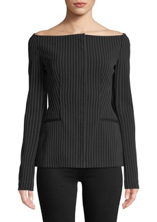 Theory Off-the-Shoulder Pinstripe Jacket