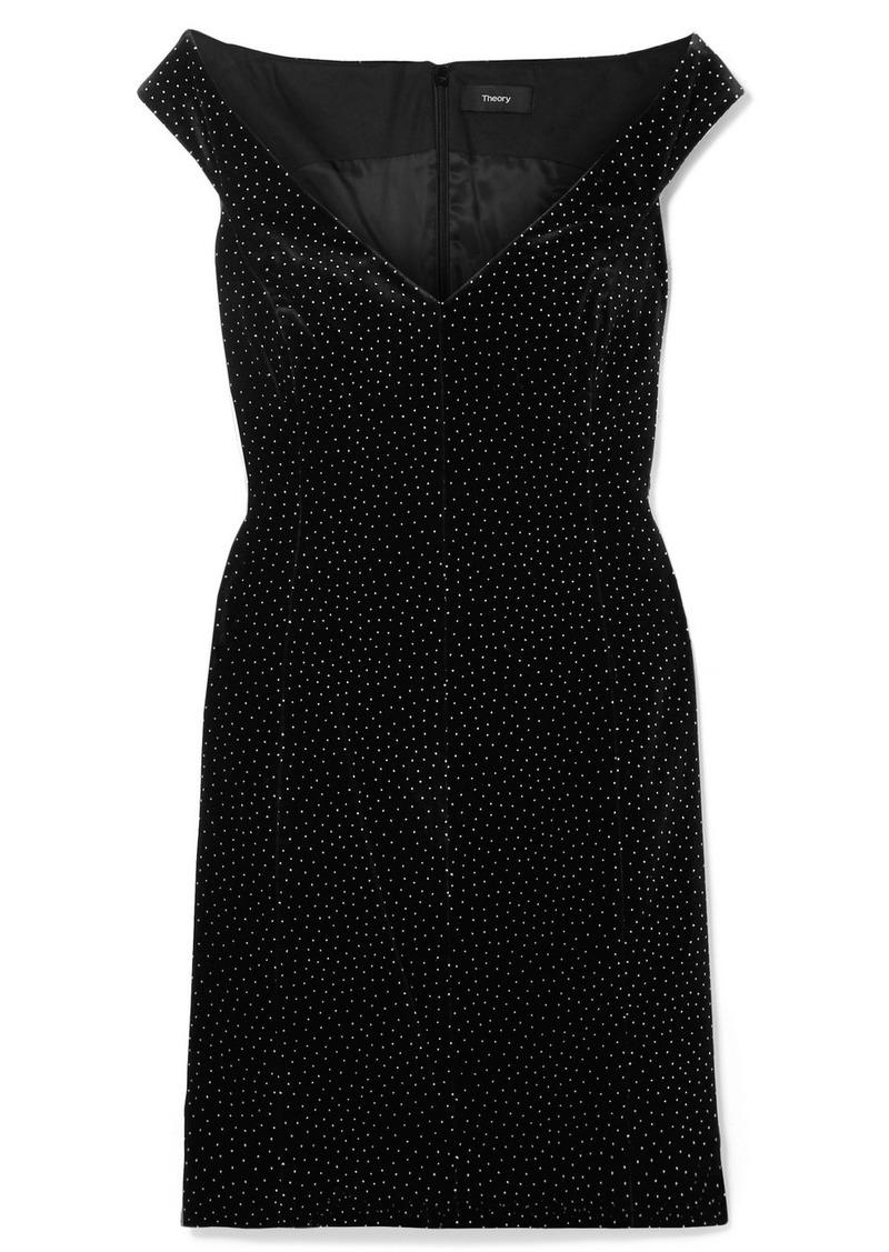 Theory Off-the-shoulder Polka-dot Cotton-velvet Mini Dress