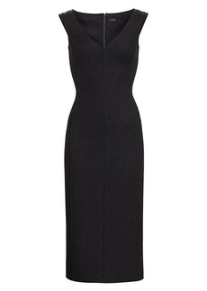 Theory Off-The-Shoulder Wool Sheath Dress