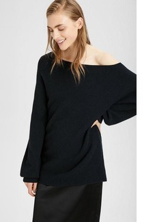 Theory One-Shoulder Ribbed Pullover