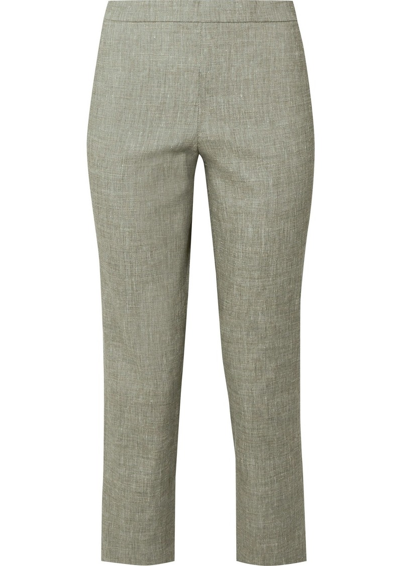 Theory Organic Linen-blend Straight-leg Pants