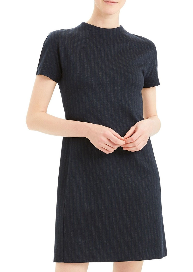Theory Pale Stripe Dolman-Sleeve Shift Dress