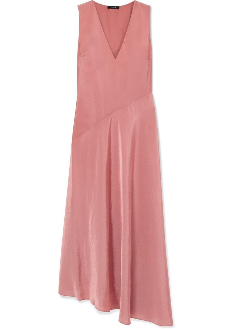 Theory Paneled Hammered-satin Maxi Dress