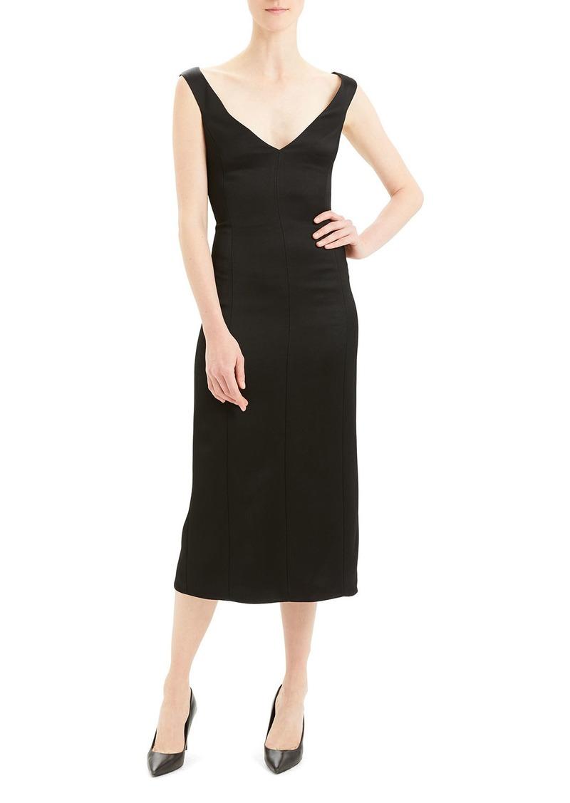 Theory Paneled Off-Shoulder Midi Dress