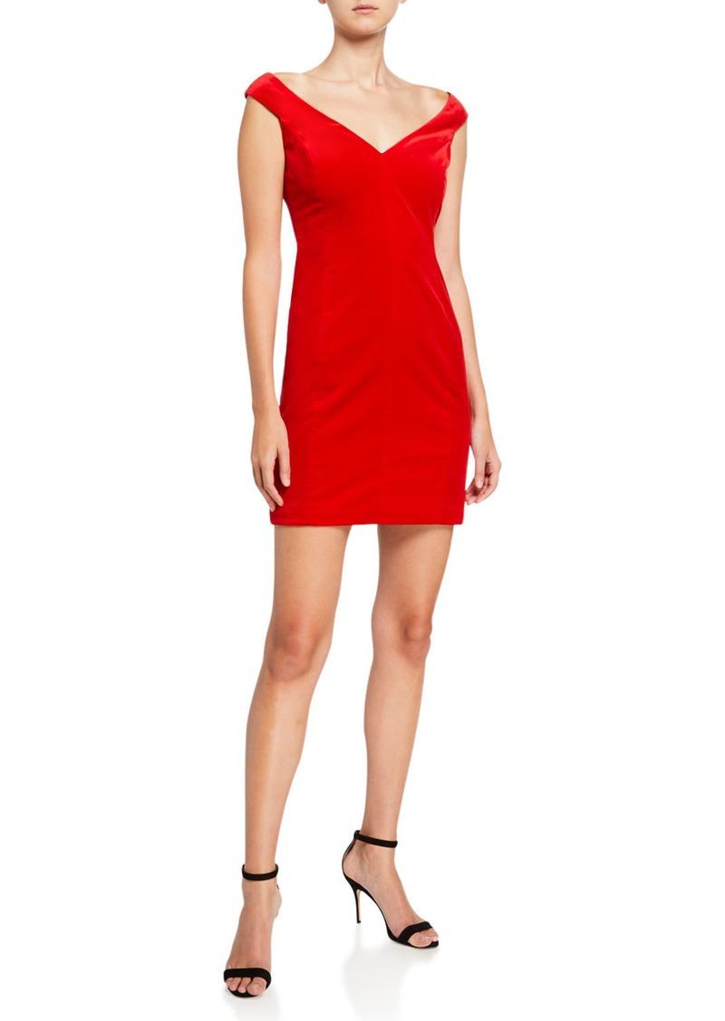 Theory Paneled Off-Shoulder Stretch Velvet Dress