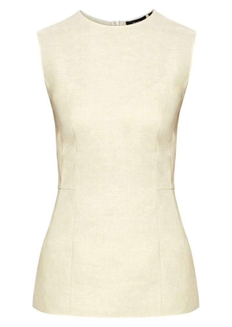 Theory Panelled Linen Top