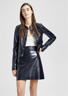 Theory Patent Leather Mod Bomber Jacket