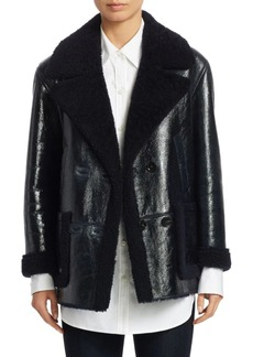 Theory Reversible Patent Shearling Jacket