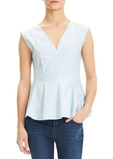 Theory Perfect Cotton Sleeveless Peplum Top