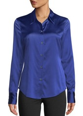 Theory Perfect Fitted 2 Stretch-Satin Long-Sleeve Button-Down Blouse