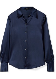 Theory Perfect Stretch-silk Satin Shirt
