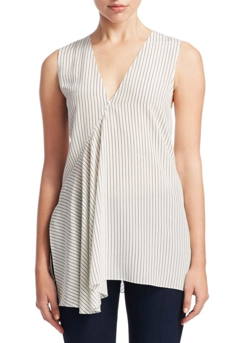 Theory Pinstripe Fluid Silk Top
