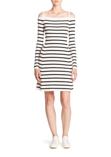Theory Pirellia Striped Cold-Shoulder Dress