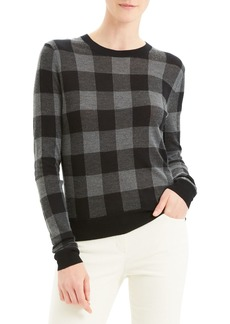 Theory Plaid Crew Silken Knit Sweater