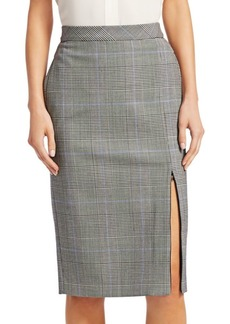 Theory Plaid Zip Pencil Skirt
