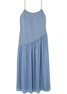 Theory Pleated Crepe And Georgette Midi Dress