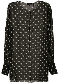 Theory polka dot sheer blouse