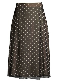 Theory Polka Dot Silk A-Line Midi Skirt