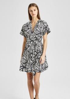 Theory Printed Everyday V-Neck Shift Dress