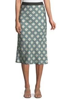 Theory Printed Silk Knee-Length Slip Skirt