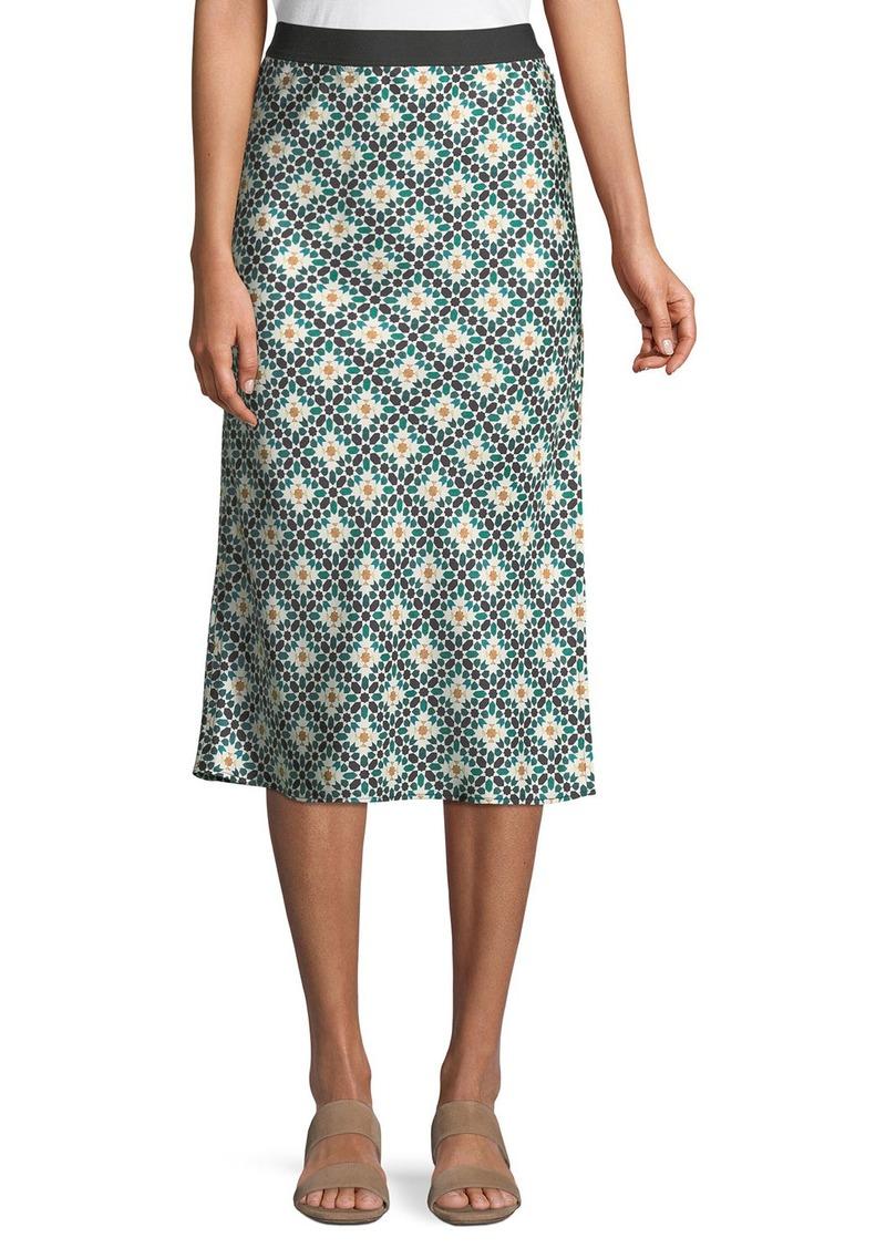 f302bc48b224 On Sale today! Theory Printed Silk Knee-Length Slip Skirt