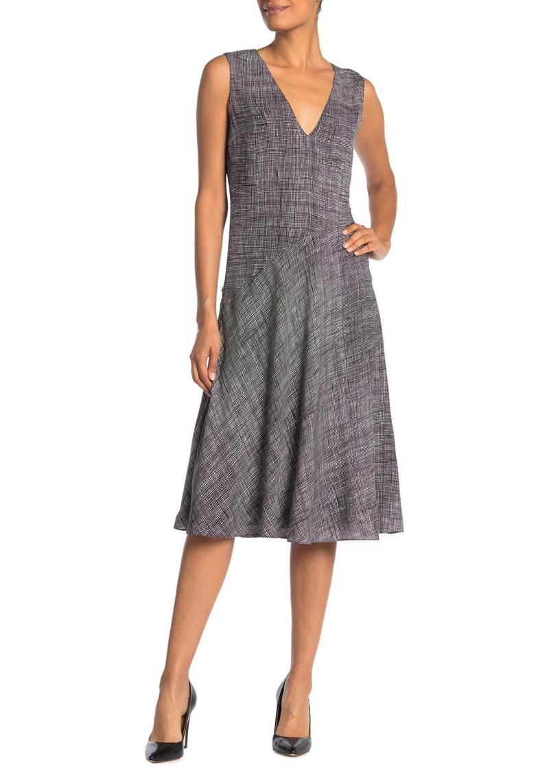 Theory Printed Silk Sleeveless Midi Dress