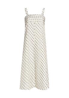 Theory Printed Silk Tie-Back Dress