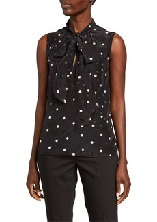 Theory Printed Tie Scarf Sleeveless Silk Top