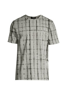 Theory Regular-Fit Clean Tie Dye Grid Tee