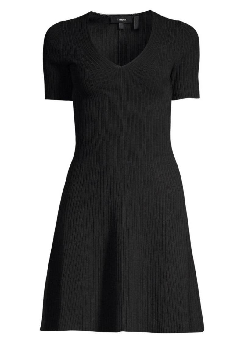 Theory Rib-Knit Fit-&-Flare Dress