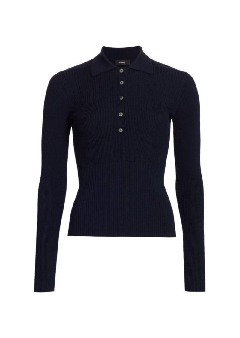 Rib-Knit Long-Sleeve Polo Top