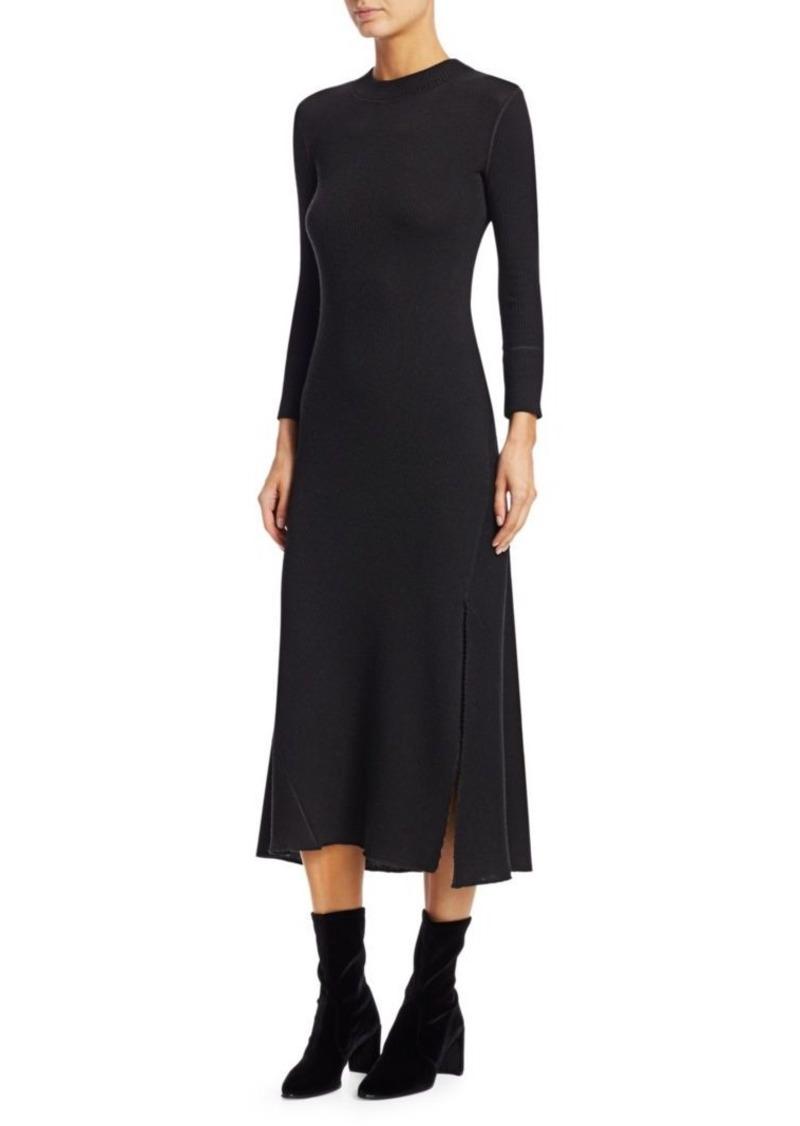 Theory Ribbed Flounce Midi Dress