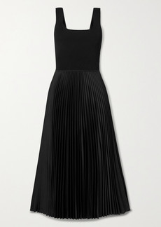 Theory Ribbed-knit And Pleated Satin-crepe Midi Dress