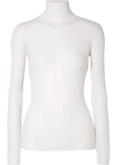 Theory Ribbed Pointelle-knit Wool-blend Turtleneck Sweater