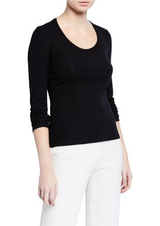 Theory Round-Neck Long-Sleeve Viscose Top