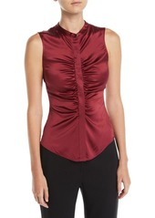 Theory Ruched Satin Fitted Button-Front Sleeveless Top