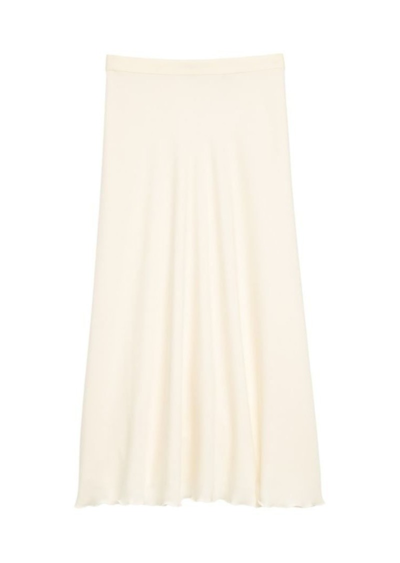 Theory Ruffle Stretch-Silk Midi Skirt