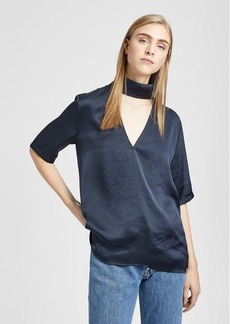 Satin Slit Collar V-Neck