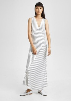 Theory Satin Striped Relaxed Slip Dress